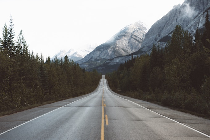 A stretch of the Icefields Parkway in Alberta, Canada