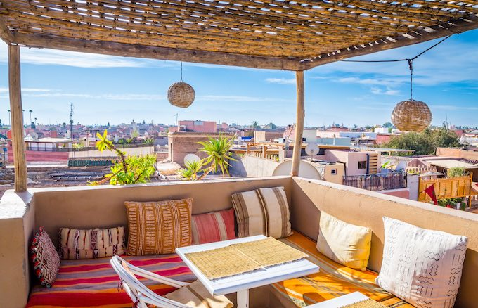 a cafe rooftop overlooking morocco