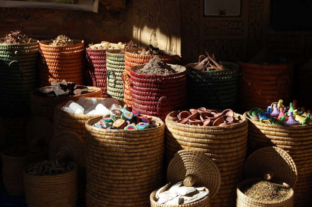 spices in a barrels in the souks