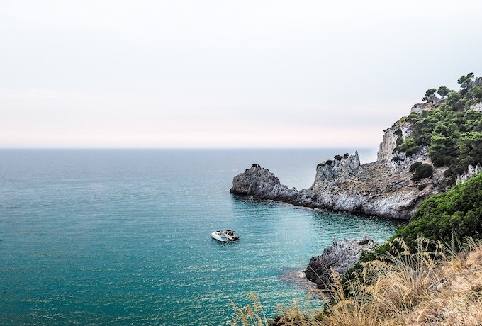 A boat in the water on the Amalfi Coast, Italy