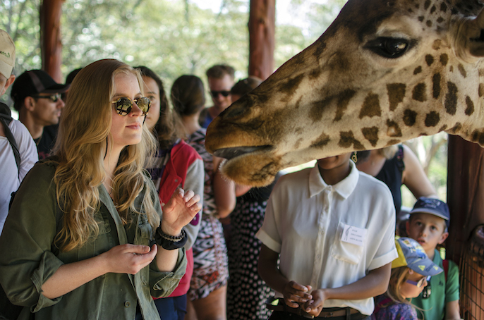 a girl is up close and personal with a giraffe