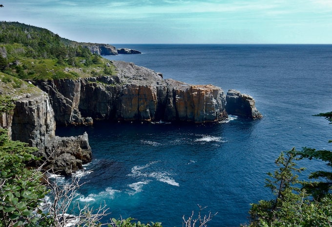 Cliffs on the east coast trail in Newfoundland, Canada