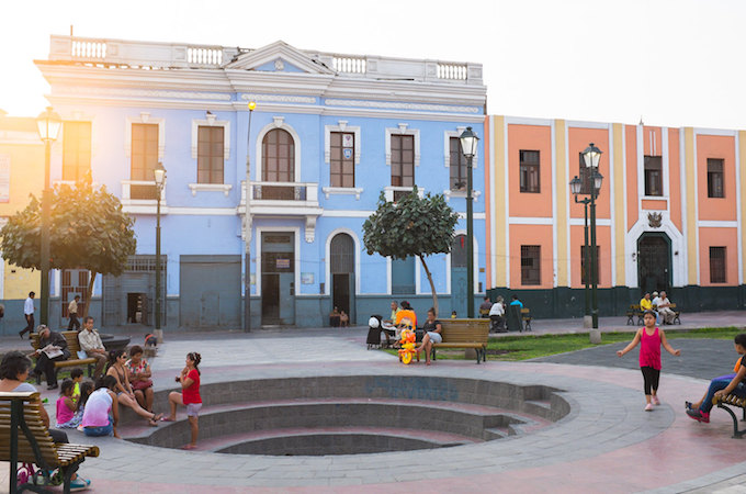 Colourful buildings around a park in Lima, Peru