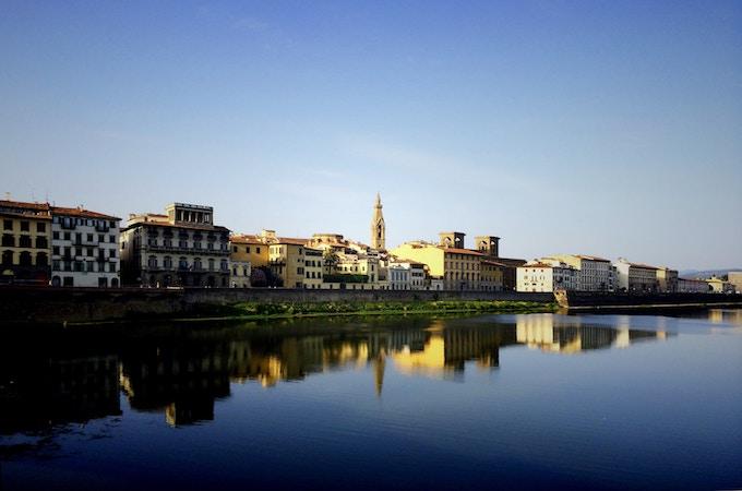 A European city by a blue river