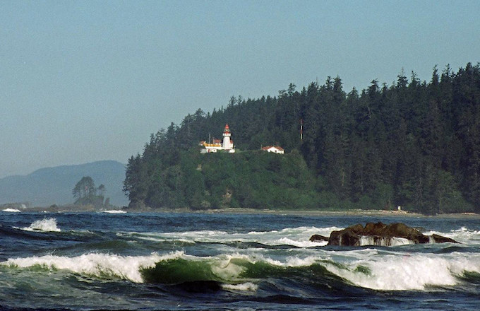 A lighthouse and the ocean on Vancouver Island, British Columbia