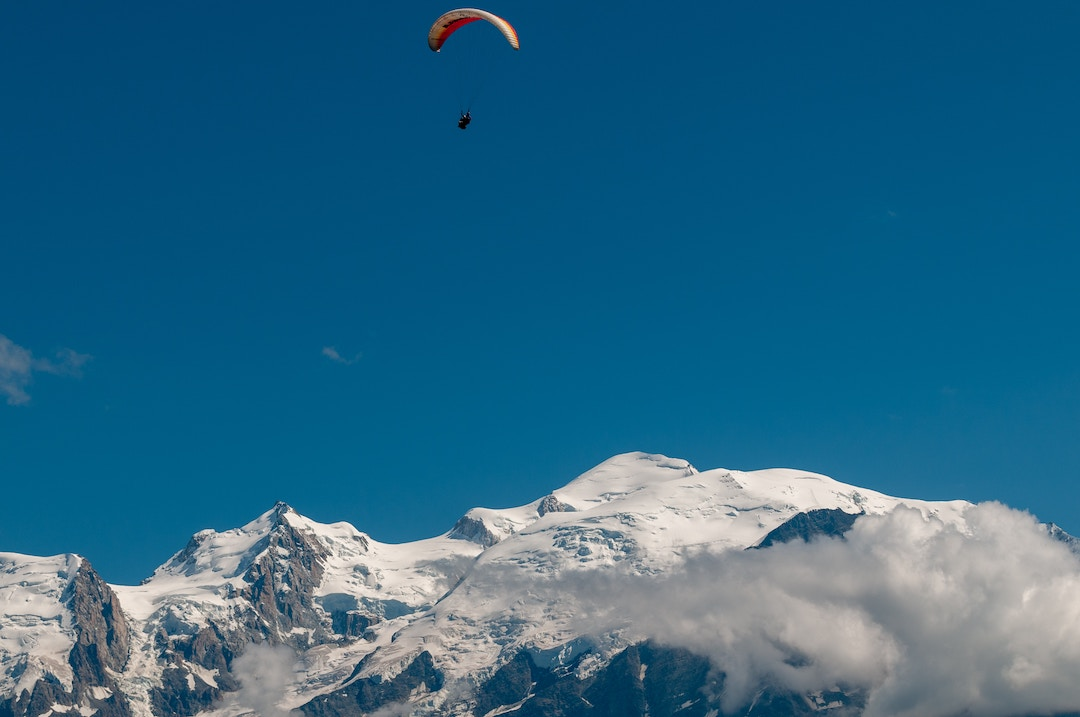 paragliding over a mountain in France
