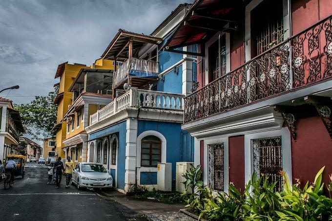 Colourful houses in Fontainhas, Goa, India