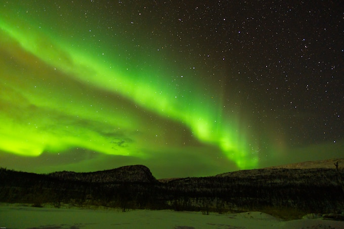 Green northern lights above norway