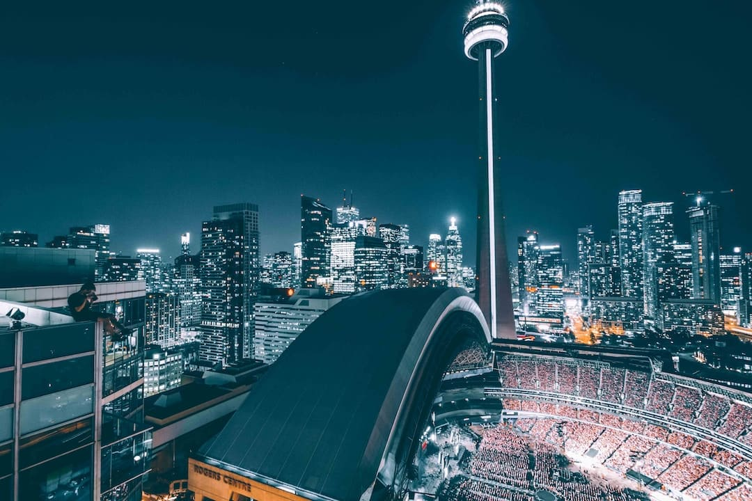 The CN Tower beside the Rogers Centre, Toronto, Canada