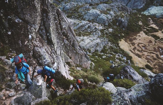 People climbing Serra da Estrela, Portugal