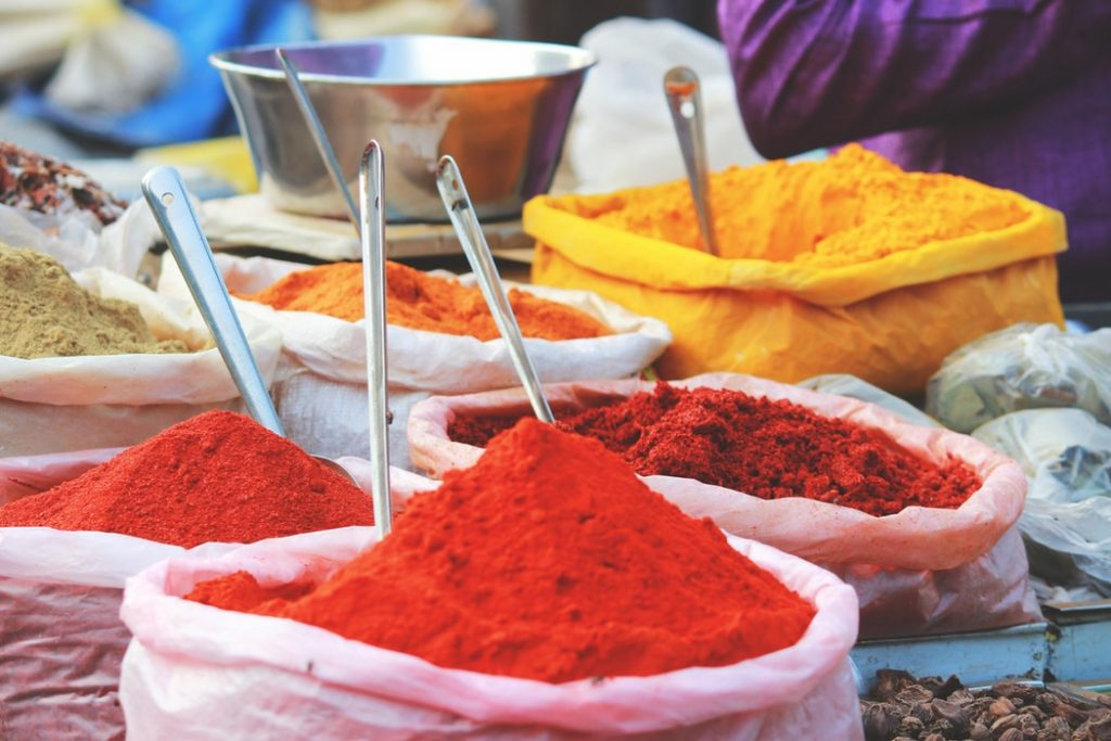 Piles of colourful spices in the market