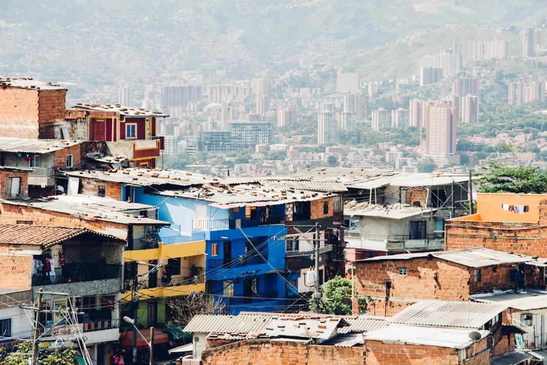 aerial shot of Medellín's colourful buildings