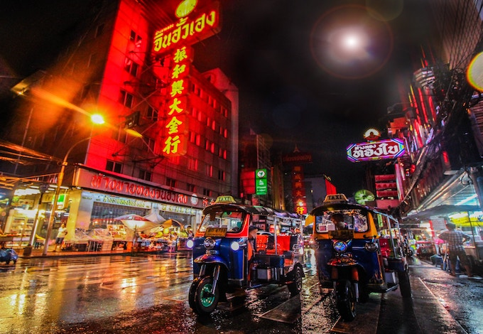 a rainy night in Bangkok, Thailand