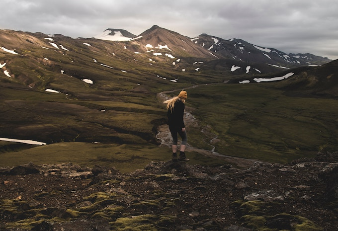 A girl hiking in Iceland