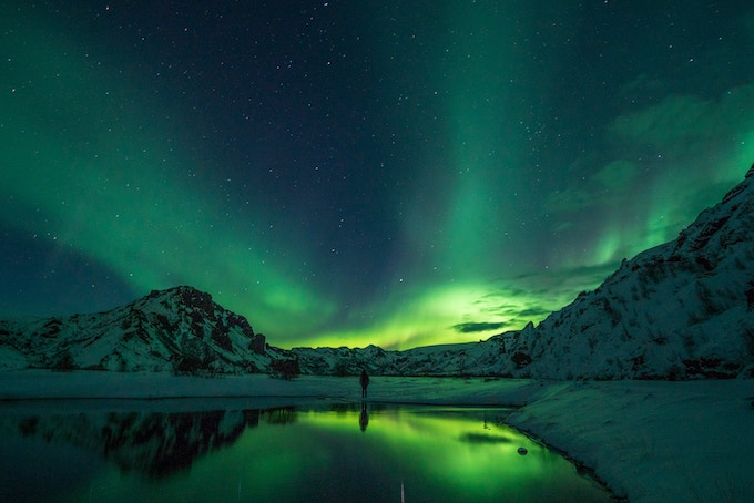 the northern lights in Thorsmork, Iceland
