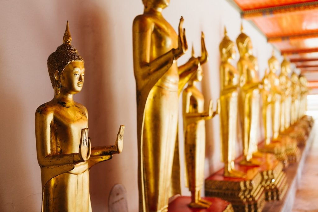 Buddha statues at a temple in Bangkok