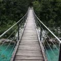 Suspension bridge across a river