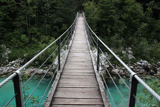 Suspension bridge across a river
