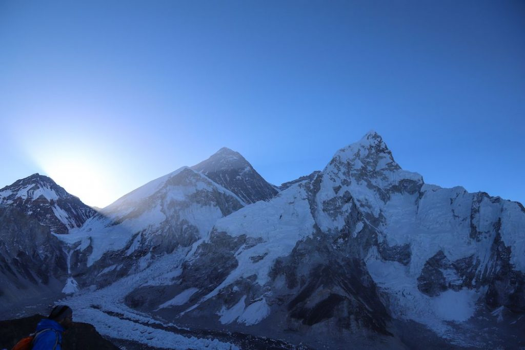 mount everest just as the sun is coming up
