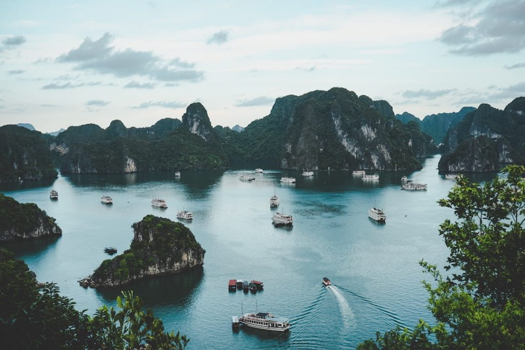 Aerial photo of boats in the water at Halong Bay, Vietnam