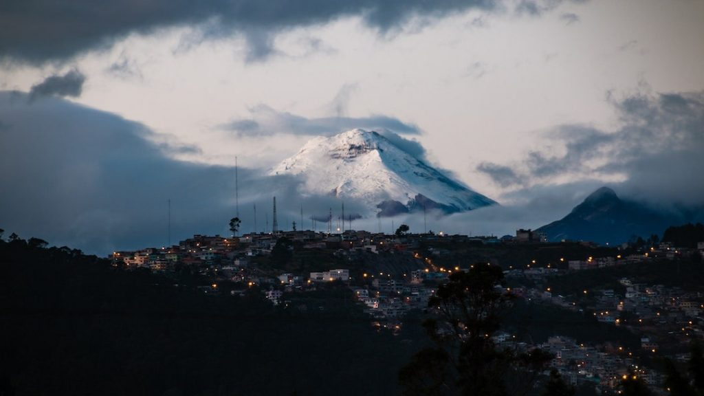 Quito's skyline at dusk