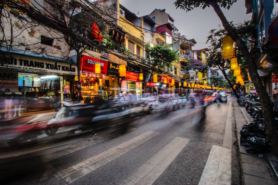 Bokeh photo of traffic on the streets of Hanoi, Vietnam