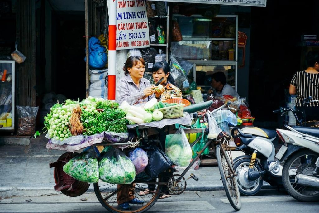 Street vendor selling fresh produce on the streets of Hanoi, Vietnam