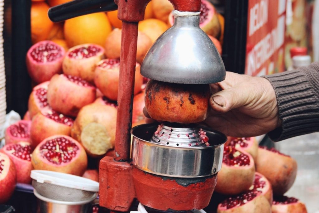 Freshly squeezed pomegranate juice from a street vendor in Istanbul, Turkey