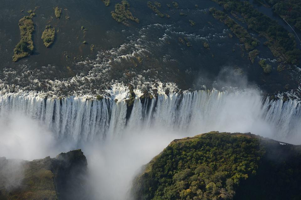 Birds eye view of a massive waterfall