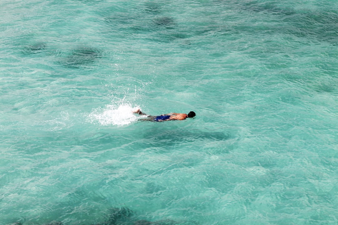 A man swimming in the sea around the Galapagos Islands