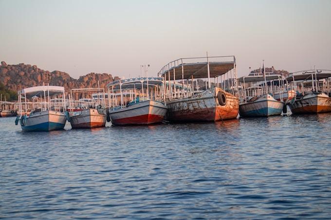 Boats on the Nile River, Aswan Dam, Egypt