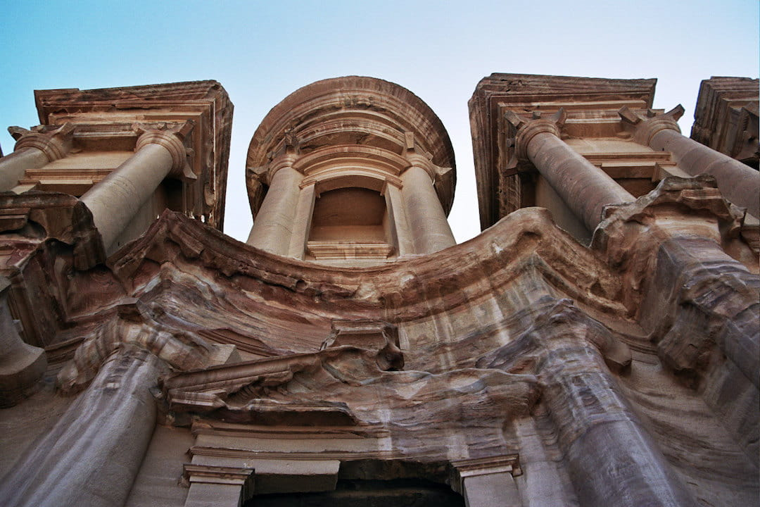 A worm's eye view of a temple in Jordan