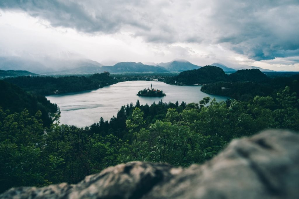 high-angle photography of lake surrounded by trees