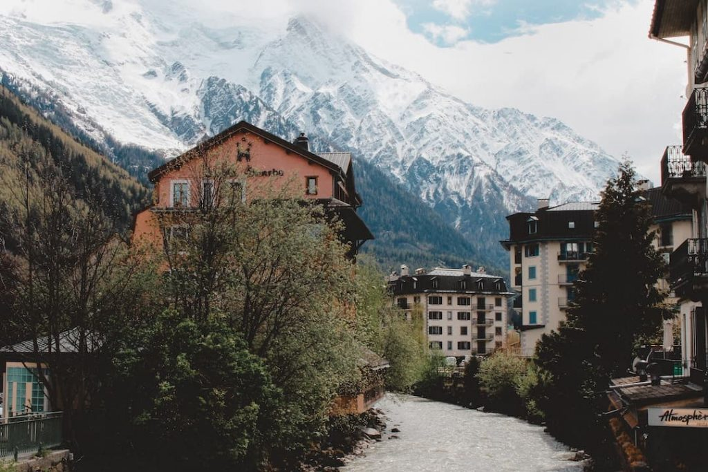 A river in Chamonix, France with Mont Blanc in the background