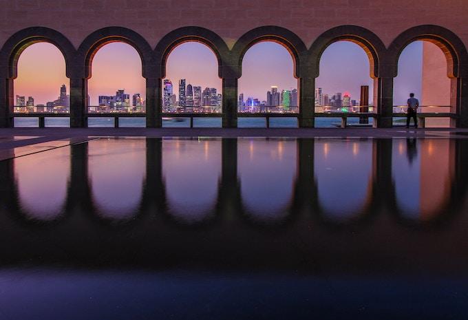 The skyline of Doha, Qatar from the Museum of Islamic Art