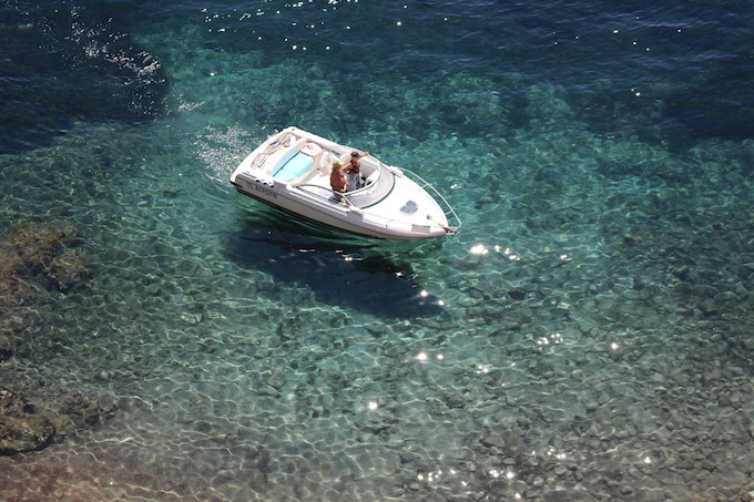 A boat on the sea in the French Riviera