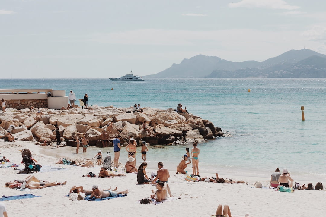 People on the beach at Cote D'Azur, France