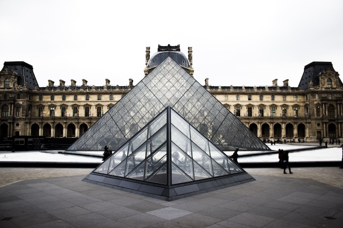 The glass pyramid at the Louvre, Paris