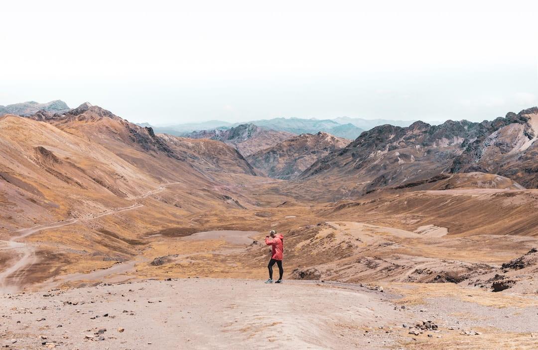 A person walking alone in Vinicunca, Cusco, Peru