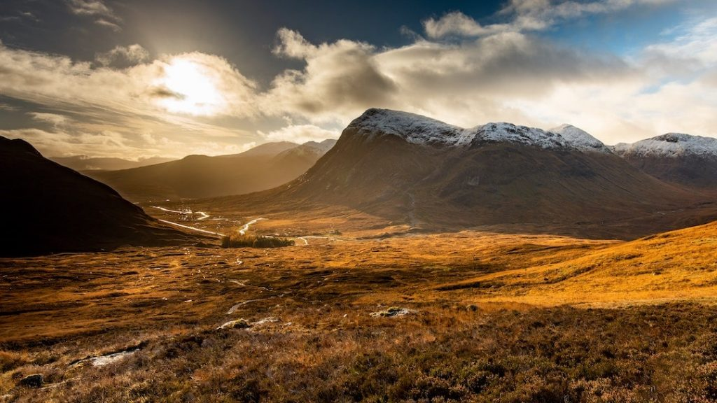 A sweeping valley and mountains in Glencoe, Scotland