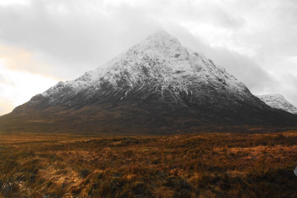 A valley and mountain in Glencoe, Scotland