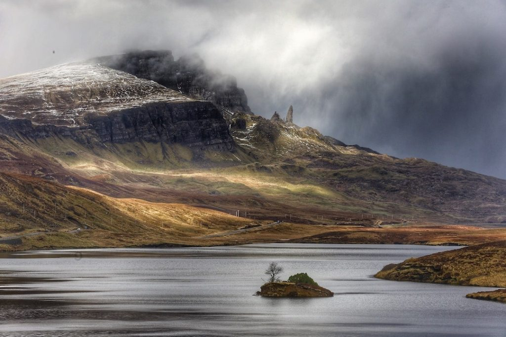 A loch and mountains on the Isle of Skye, Scotland