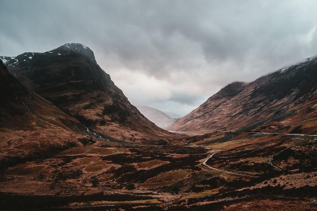 Mountain peaks in Glencoe, Scotland