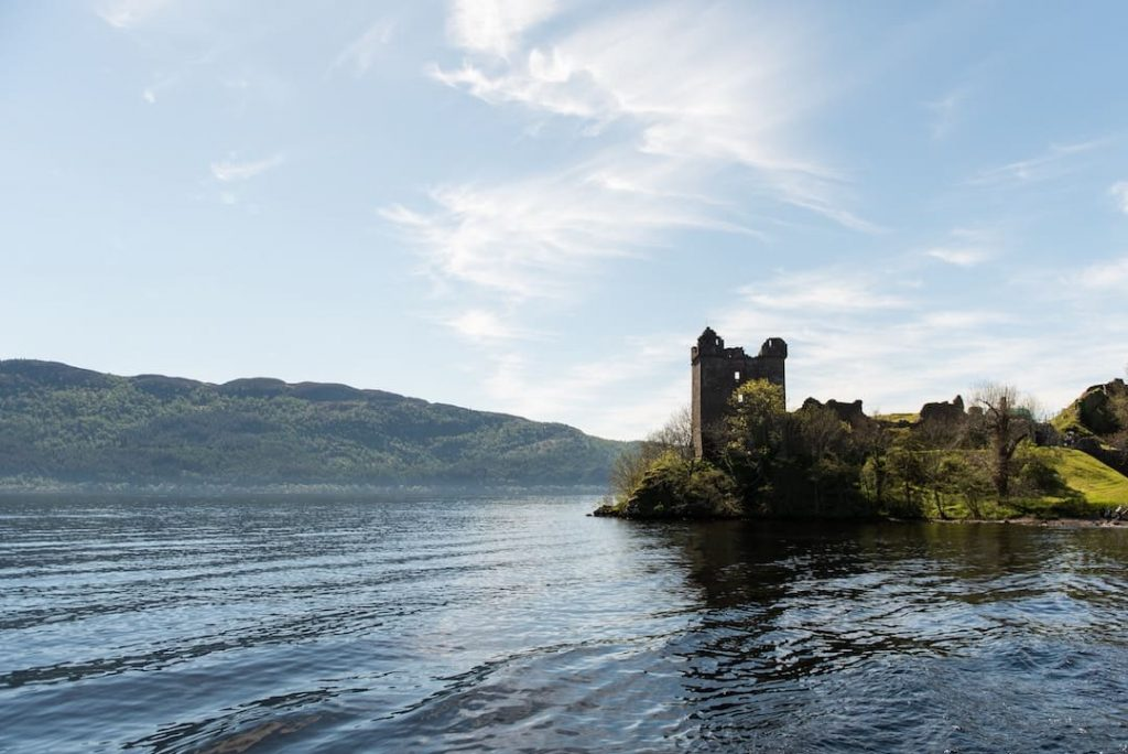 View of castle ruins on the shores of Loch Ness, Scotland
