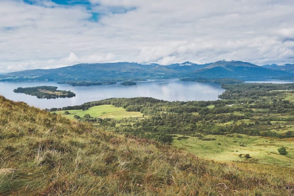 Aerial view of Loch Lomond and the Trossachs National Park, Scotland