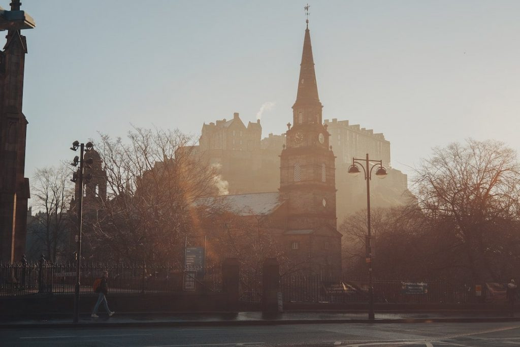Mist lingering on the streets of Edinburgh, Scotland