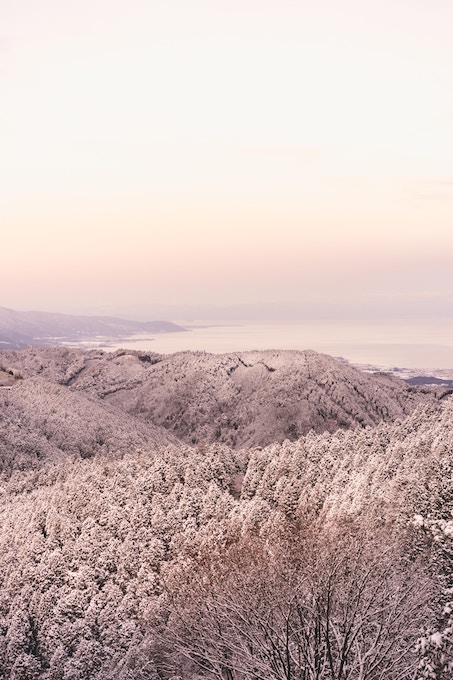 The view from a mountain on a winter day in Kyoto