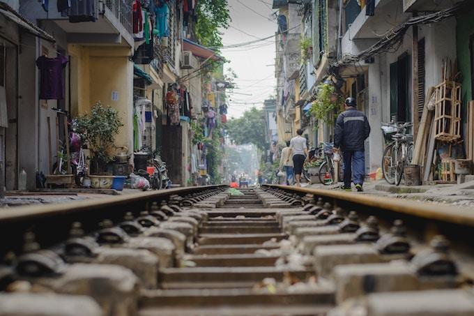 A railway track in Hanoi, Vietnam