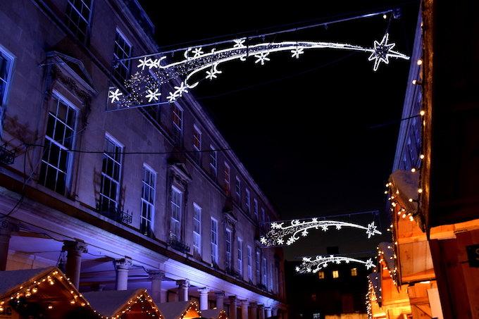 Christmas lights overhead in Bath, UK