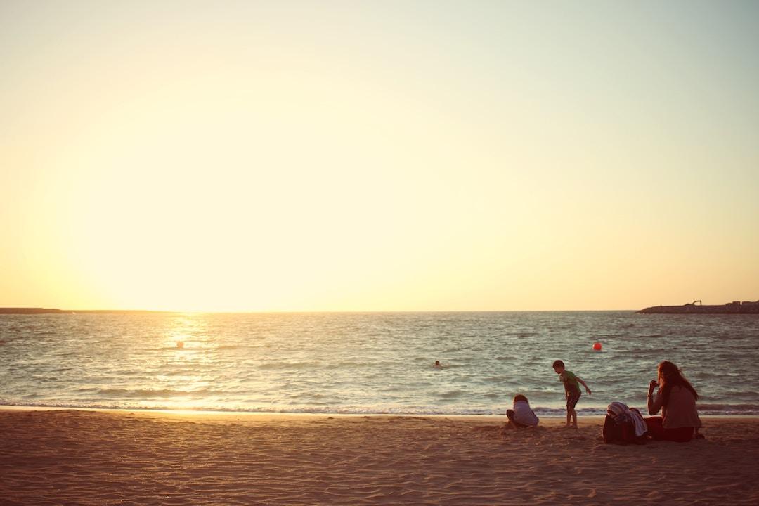 A family on a beach in Dubai, UAE